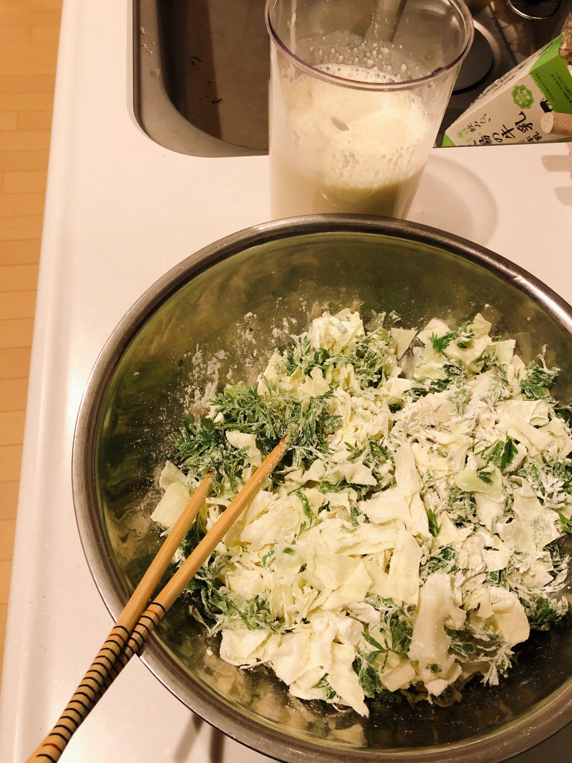 お好み焼きの野菜と繋ぎ