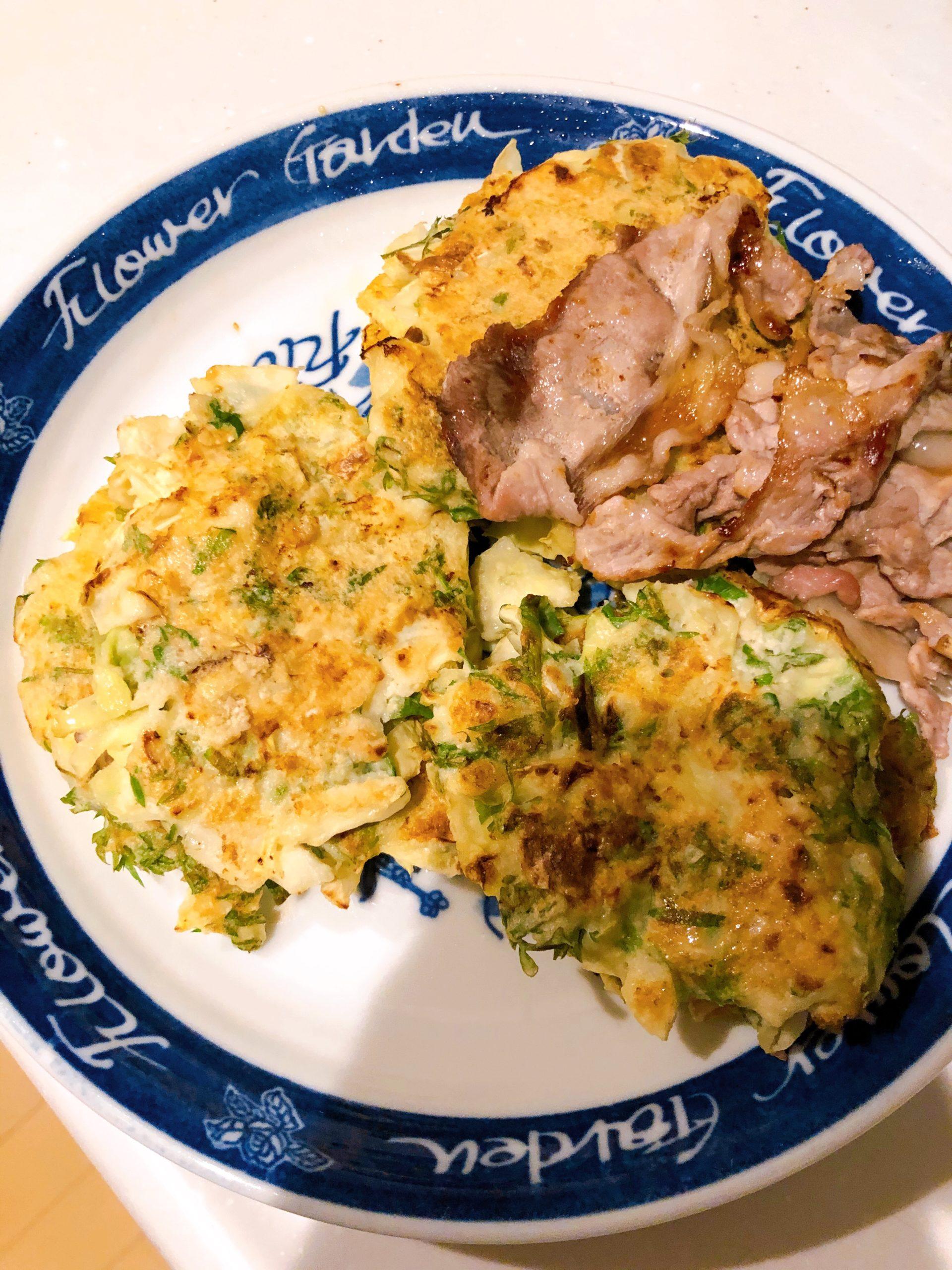ニンジンの葉と里芋のお好み焼き