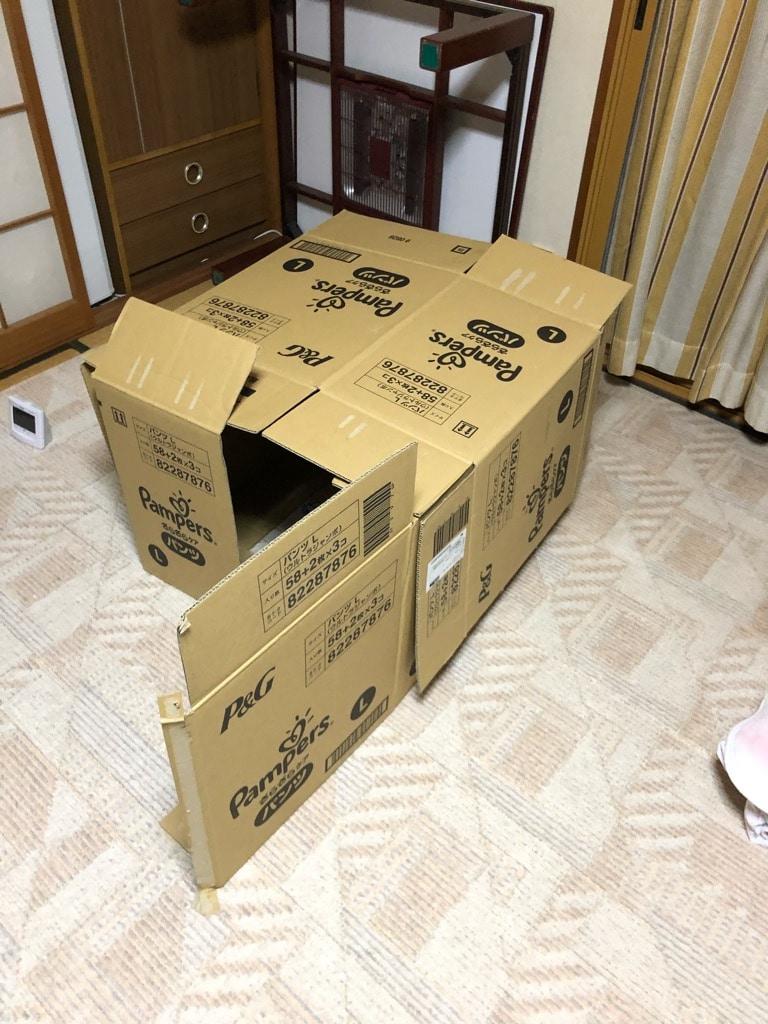 3箱を組み合わせた秘密基地